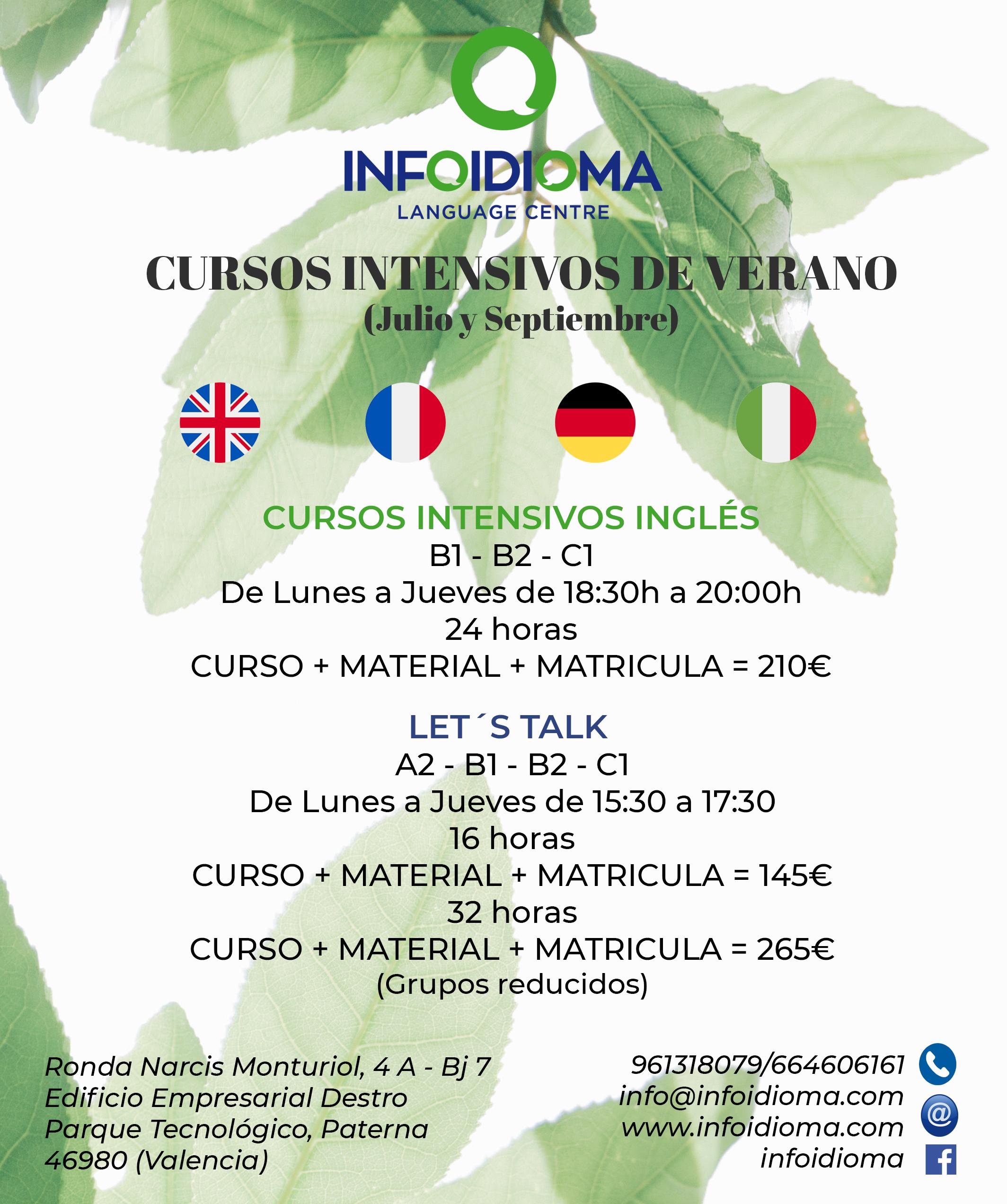 Cursos intensivos de Inglés en verano - infoidioma - valencia